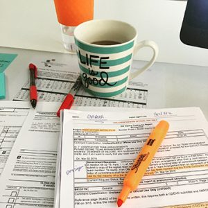 Coffee, check. Highlighter, check. Red pen, check. Now we're ready to QC.